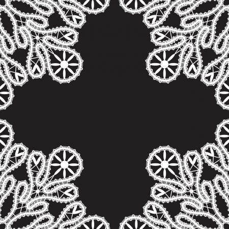 tatting: White lace on black