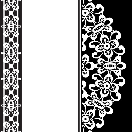White lace on black, monochrome background Vector