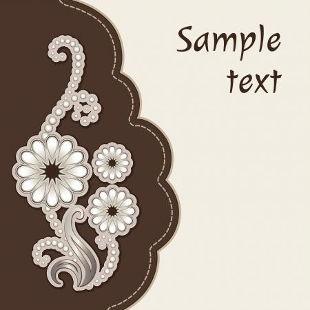 Album cover with floral decorative applique Vector