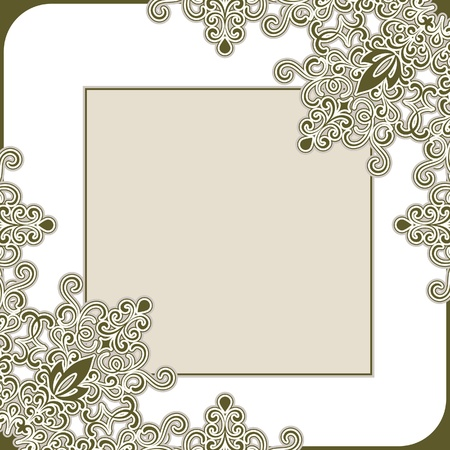 Decorative frame, abstract floral decoration on white Stock Vector - 16688663