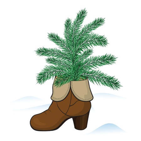 Fashionable woman�s boot with fir tree, winter  background Stock Vector - 16905116