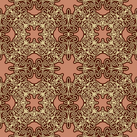 Abstract gold embroidery seamless pattern Vector