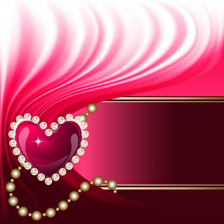 Red jewelry heart, valentine day greeting card template Vector