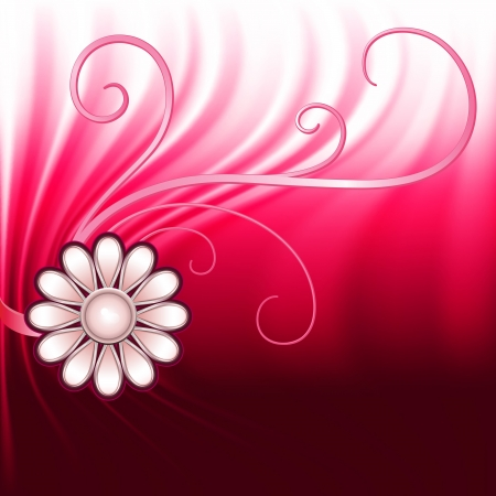 bijou: Jewelry flower and flourishes on red drapery background