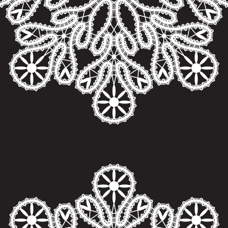 White realistic lace isolated on black background  Vector