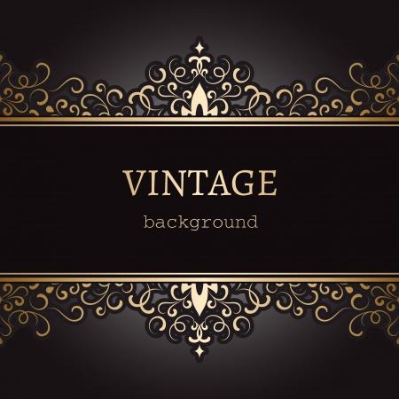 copertina libro antico: Vintage background, etichetta oro ornato su fondo nero Vettoriali