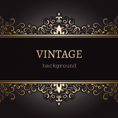 Vintage background, ornate gold label on black Vector