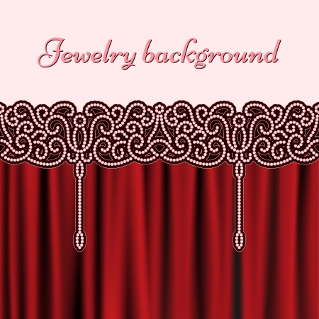 Embroidery pearls background, seamless border pattern and red drapery Stock Vector - 17312943
