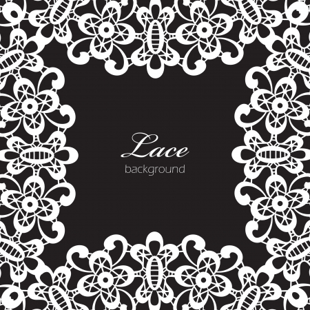 White lace frame isolated on black Vector