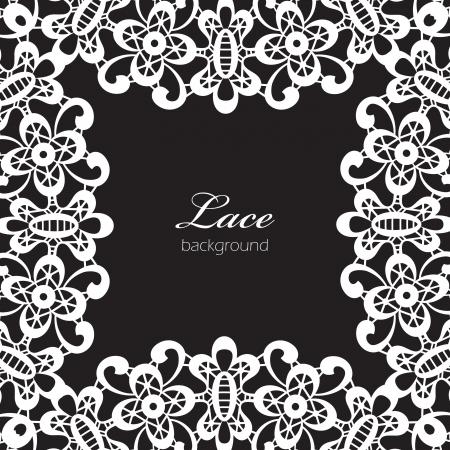 white napkin: White lace frame isolated on black Illustration
