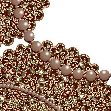 Lace ornament and strings of pearls on white Vector