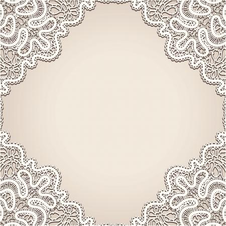 lacework: Realistic old lace, vintage frame background Illustration