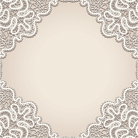 lace filigree: Realistic old lace, vintage frame background Illustration