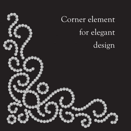 ornament  jewellery: Dotted corner pattern on black