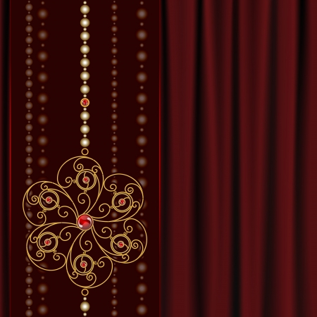Jewelry background, gold flower pendant on red drapery Vector