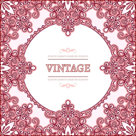 Ornamental decorative pink frame Vector