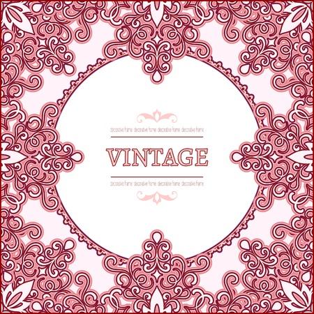 swirly: Ornamental decorative pink frame Illustration