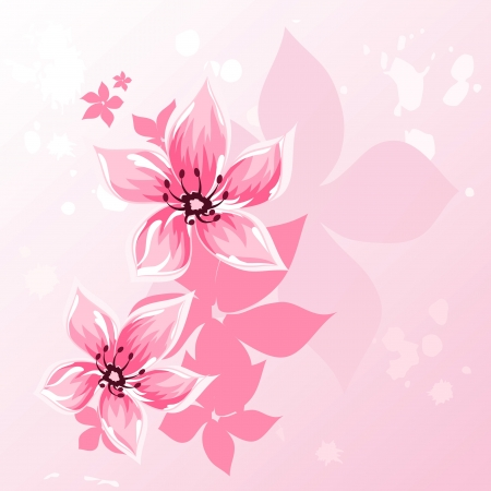 Cherry blossom greeting background Vector