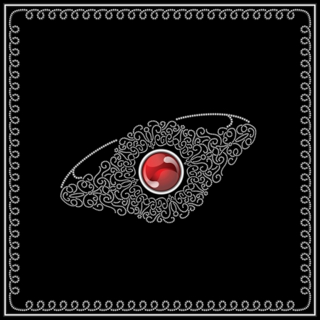 ruby red: Jewelry filigree ring isolated on black Illustration