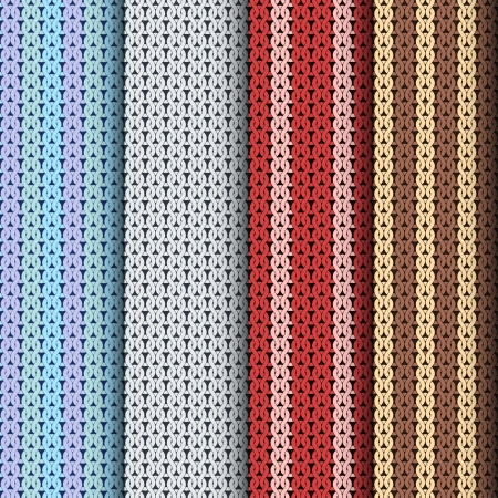 Knitting patterns, set of seamless textures Vector