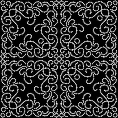 arabesque wallpaper: Black and white dotted seamless swirl pattern