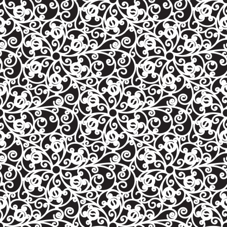 black lace: Black and white seamless floral pattern
