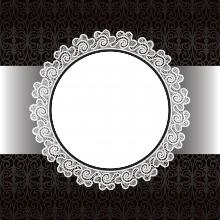 doily: Black and white lace background