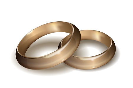 wedding band: Gold wedding rings on white