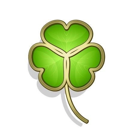 three leaf: Shamrock leaf, gold clover icon on white