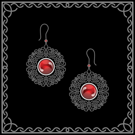 Jewelry filigree earrings isolated on black Stock Vector - 17923682