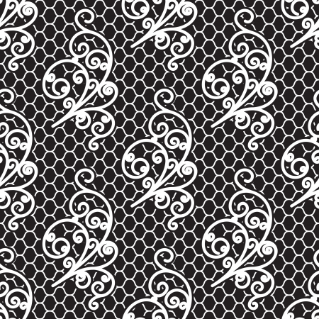 White lace on black, seamless pattern Vector