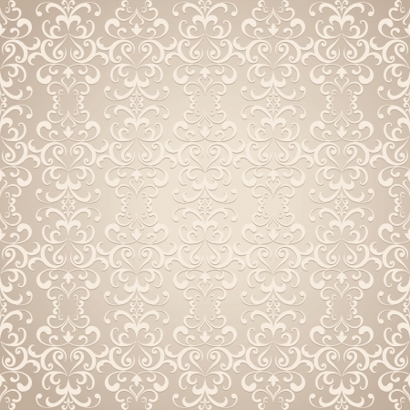 Seamless floral pattern, vintage beige background