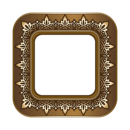 Gold picture frame isolated on white Vector