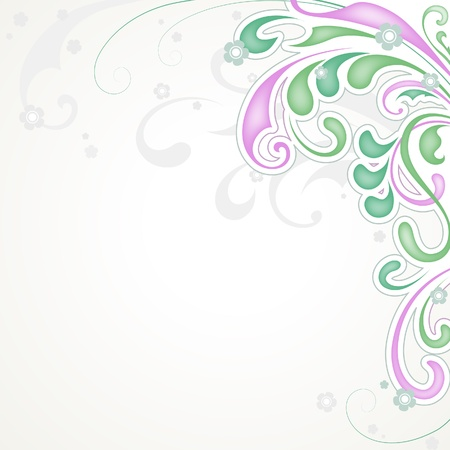 Abstract floral background, herbal swirls design Vector