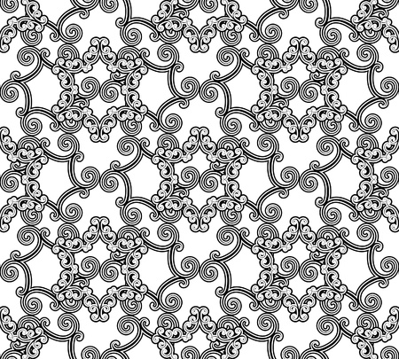 lattice: Seamless black and white pattern in arabic style Illustration