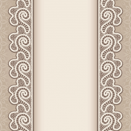 ornamental borders: Vintage background with lace seamless borders