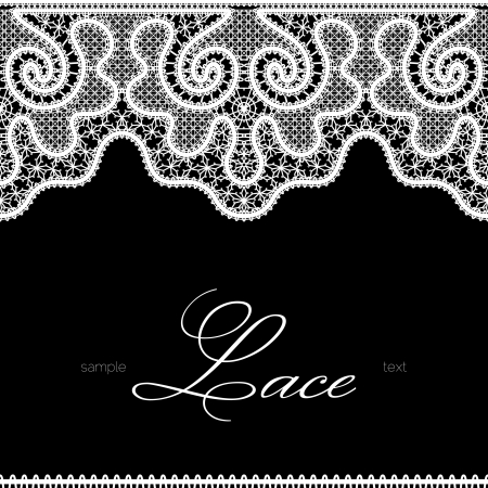 White lace background, seamless borders on black, realistic lacework texture Vector