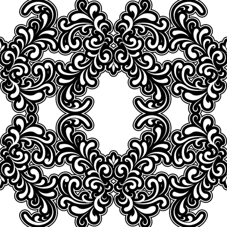 Vintage seamless pattern, black and white floral background