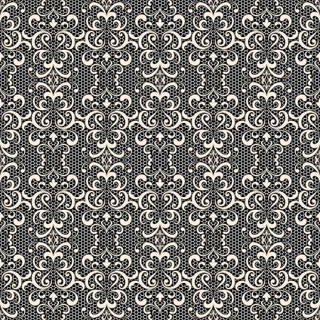 tulle: White lace on black, seamless pattern Illustration