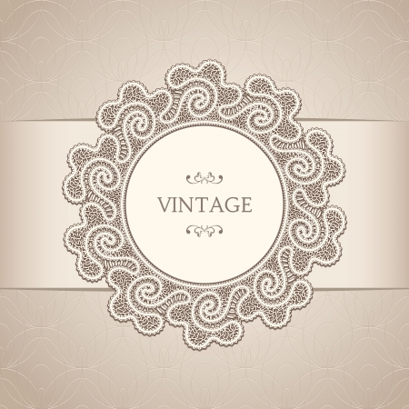 Vintage background with old lace label Stock Vector - 18538784