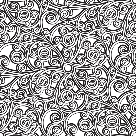 Black and white seamless pattern, vintage floral ornament Vector