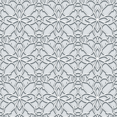 crochet: Abstract lace, grey seamless pattern