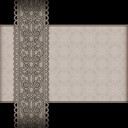 Vintage background with seamless lace ribbon Vector