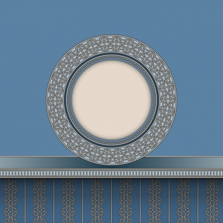 China plate on shelf, vintage round frame Vector