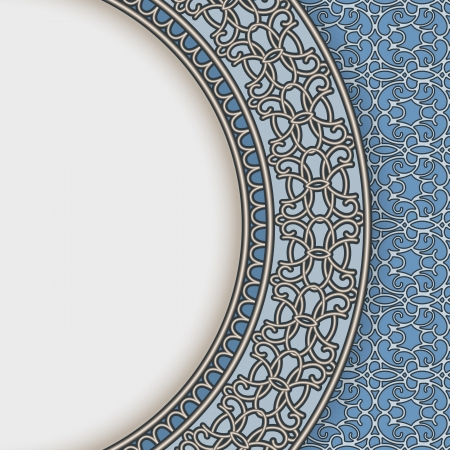 Blue china plate over seamless pattern, vintage background Vector