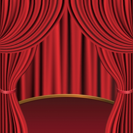 circus arena: Red curtains and stage