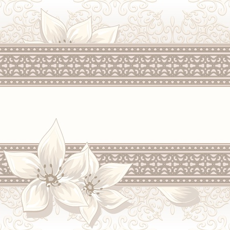 Vintage beige background with seamless borders Vector