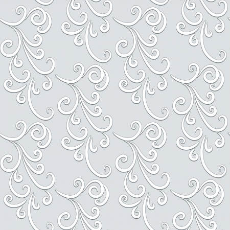 leaf curl: Abstract floral background, grey seamless pattern Illustration