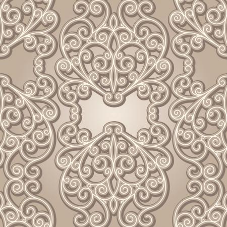 arabesque wallpaper: Pizzo Vintage sfondo, astratto beige senza soluzione di continuit�