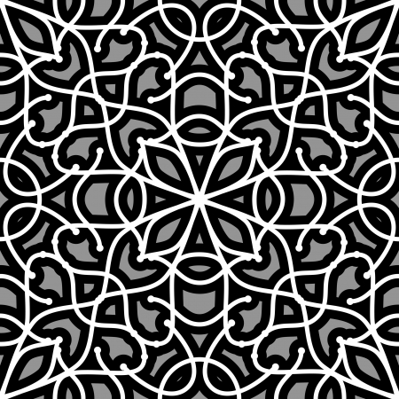 Abstract grey filigree ornament, seamless lace pattern Vector